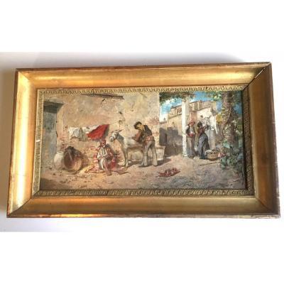 Huile Sur Panneau De Vicente March Y Marco Scène De Rue Animée Valence 1880 Espagne
