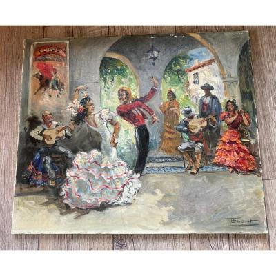 Jose Luis Florit Huile Sur Toile Danseurs De Flamenco Féria De Séville Vers 1940 Espagne