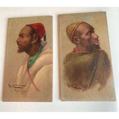 Enrique Marin Paire De Portraits Orientalistes Huile Sur Panneau Espagne