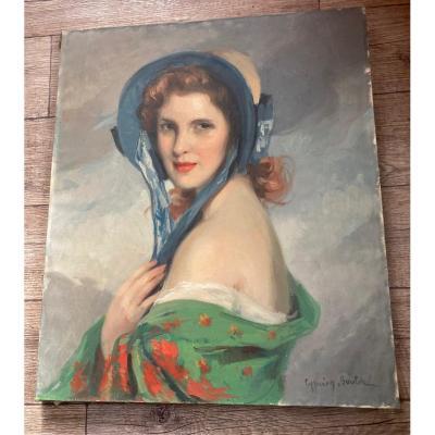 Cyprien Eugène Boulet Portrait De Jeune Femme Au Chapeau Et Châle Vers 1900