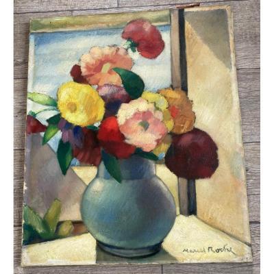 Roche Marcel Huile Sur Toile Nature Morte Bouquet De Fleurs Début 20 ème Siècle