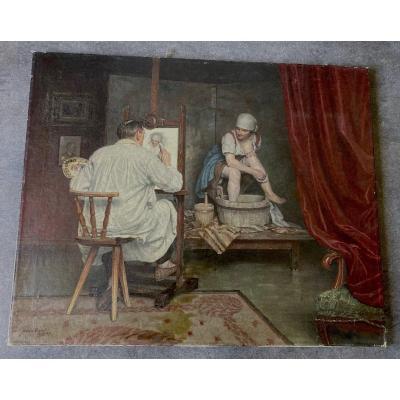 """Huile sur toile """"le peintre et son modèle """" signé HANS ULMER et daté 1927 Allemagne"""