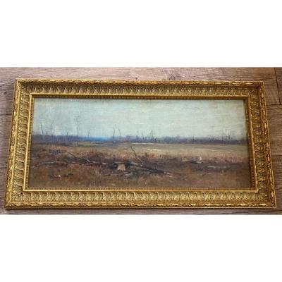 Théophile Poilpot Huile Sur Toile Paysage 1889