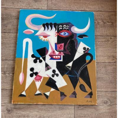 Saez Arnaud Huile Sur Toile Affiche De Bayonne Vers 1970