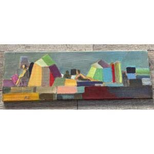 Huile Sur Toile Denicole Jeanblanc Cubiste XX ème Siècle