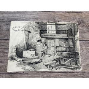 Lapchine Georges Dessin d'Atelier Vue d'Intérieur Vers 1930