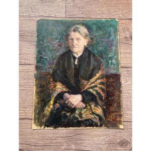 Lapchine Georges Huile Sur Papier Portrait De Femme Vers 1920
