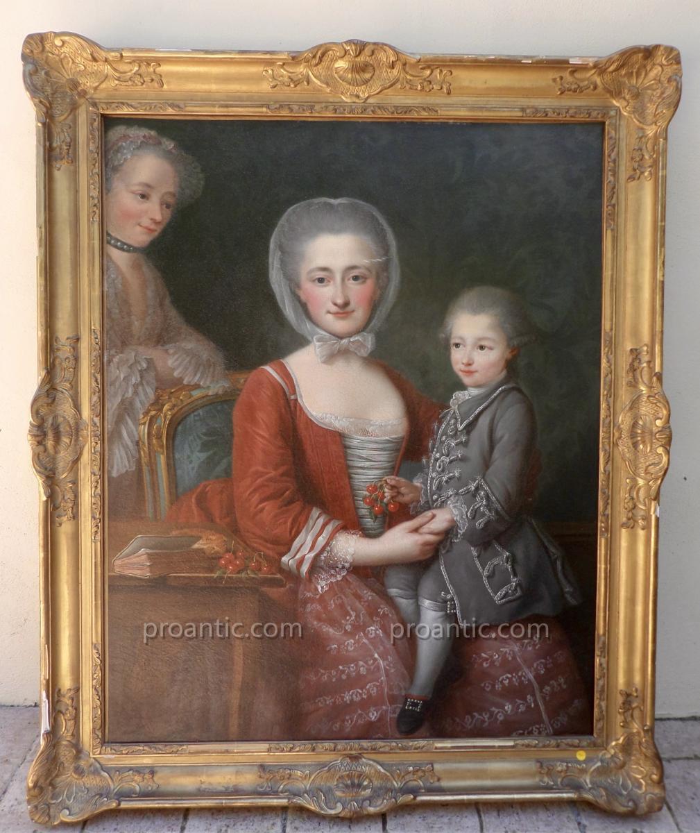 """Jean Chevalier (1725-1790) """"portrait d'Une Mere Et De Son Fils Accompagnes d'Une Suivant"""""""