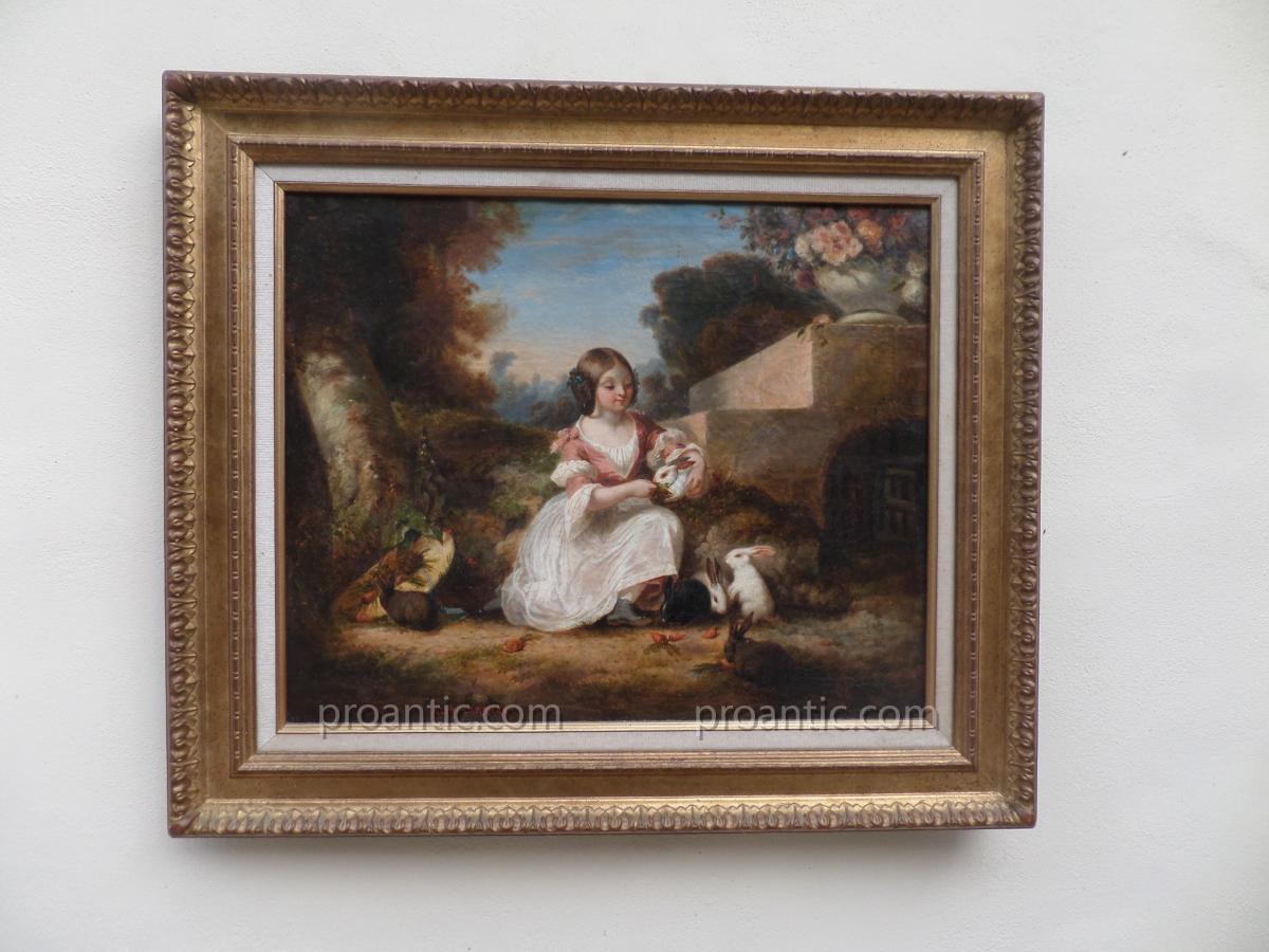 """Alphonse Carriere (Nee 1808) """" La Petite Fille Au Lapins"""""""
