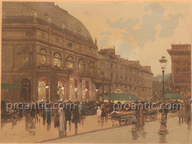 Eugene Galien Laloue (1854-1941) Vue d'Un Theatre A Paris
