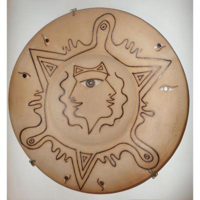 """Jean Cocteau (1889-1963) """"hommage Aux Etrusques"""". Plat Signe."""