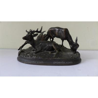 Pierre Jules Mene (1810-1879) Stag And Doe. Bronze Patina.