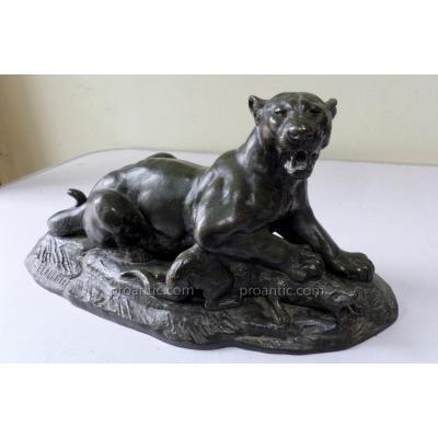 """Edouard Paul Delabrierre (1829-1912) """"panthere Devorant Une Mangouste: Bronze"""