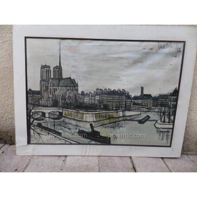 """Bernard Buffet Lithographie """" Ile De La Cité."""""""