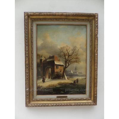 """Hendrik Pieter Koekkoek (1843-1890) """"village Hollandais En Hiver"""""""