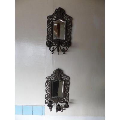 Deux Miroirs Avec Trois Appliques De Bougies