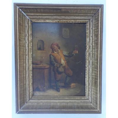 """Apres David Teniers """"portrait d'Un Buveur"""" Huile Sur Panneau"""