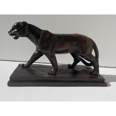 Antoine-louis Barye (1795-1875) . Panther Marchant . Bronze