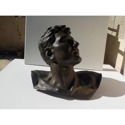 Tete De Homme Neo-classique En Bronze Vers 1920