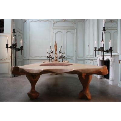 Exceptionnelle table en chêne blond et fer forgé, XXe