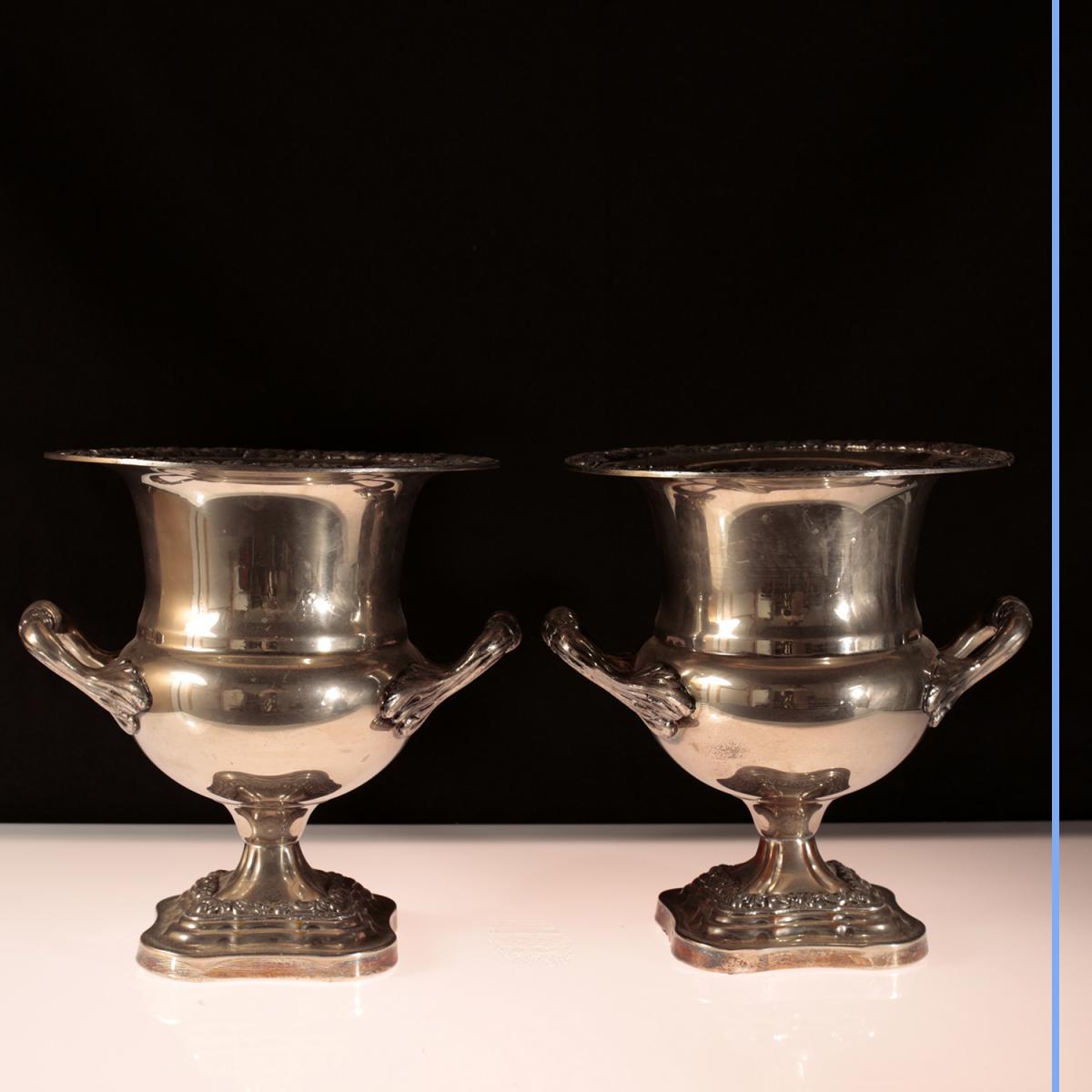 Paire de coupe en métal argenté, XIXe