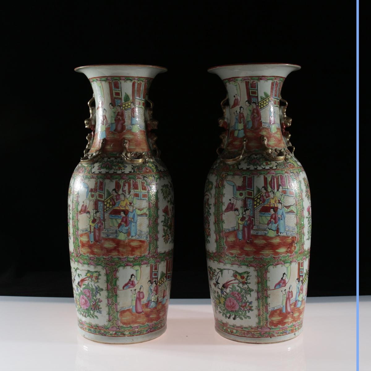 Paire de Vases, Canton, XIXe