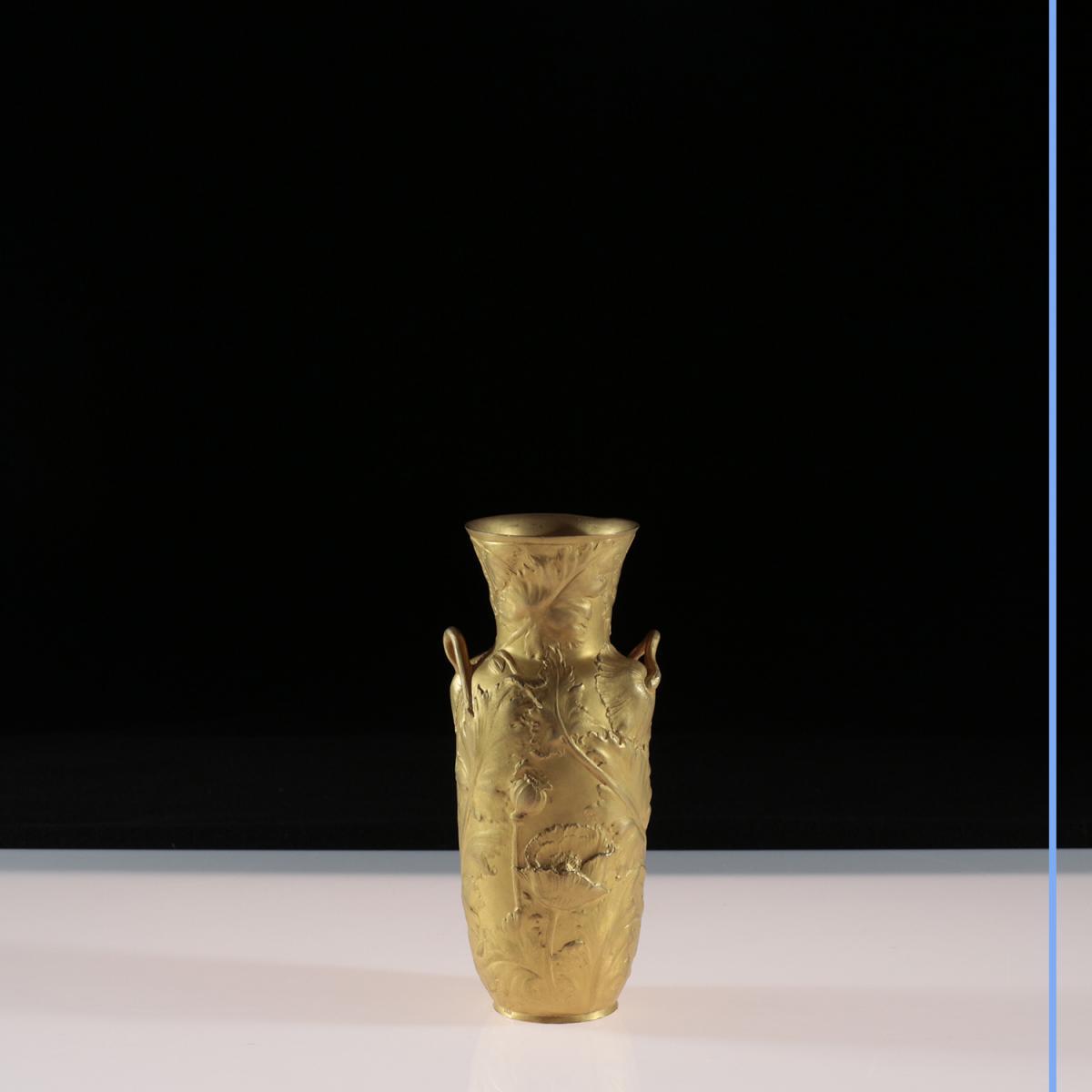 Alexandre Vibert (1847-1909), vase en bronze doré, XIXe
