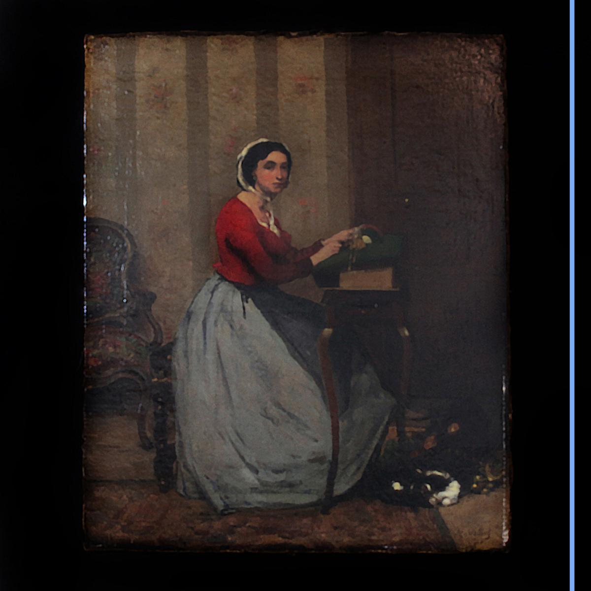 """Alexi Vollon (1865-1945), Huile sur toile """"La brodeuse"""", XIXe"""