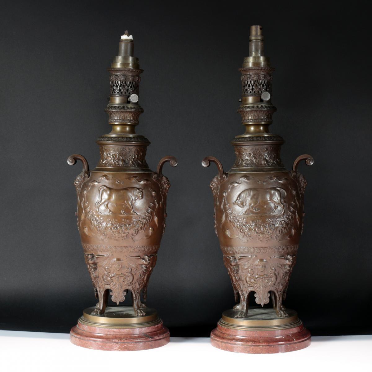 Ferdinand Levillain (1837-1905), Paire de lampes en bronze, XIXe