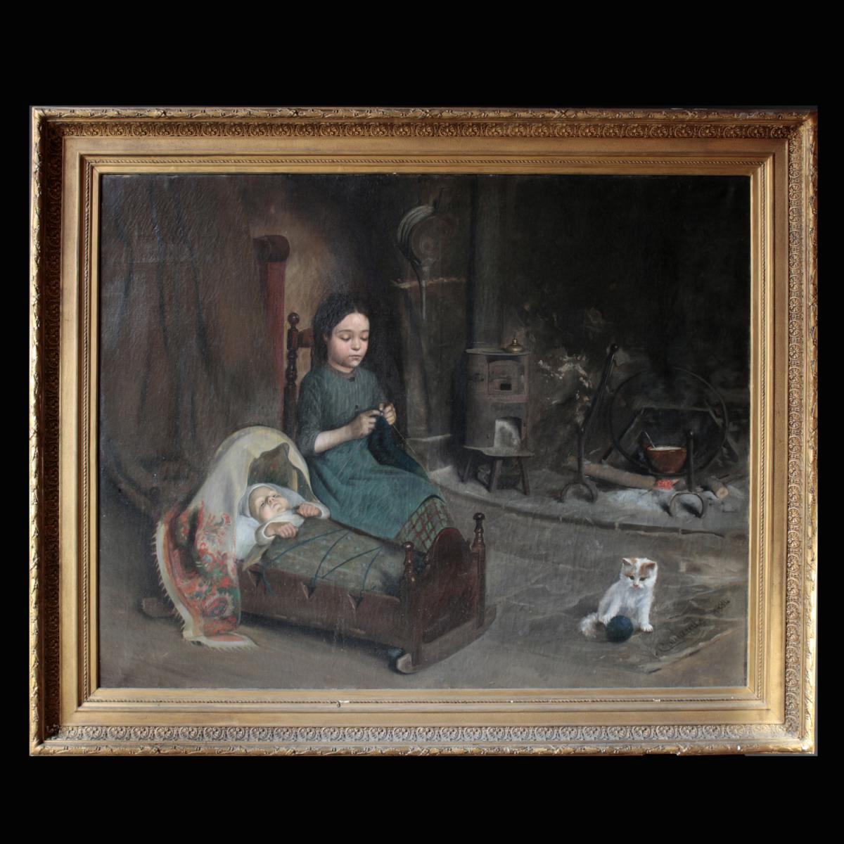"""""""Petite fille berçant un bébé au coin du feu"""", M.Coulaud"""