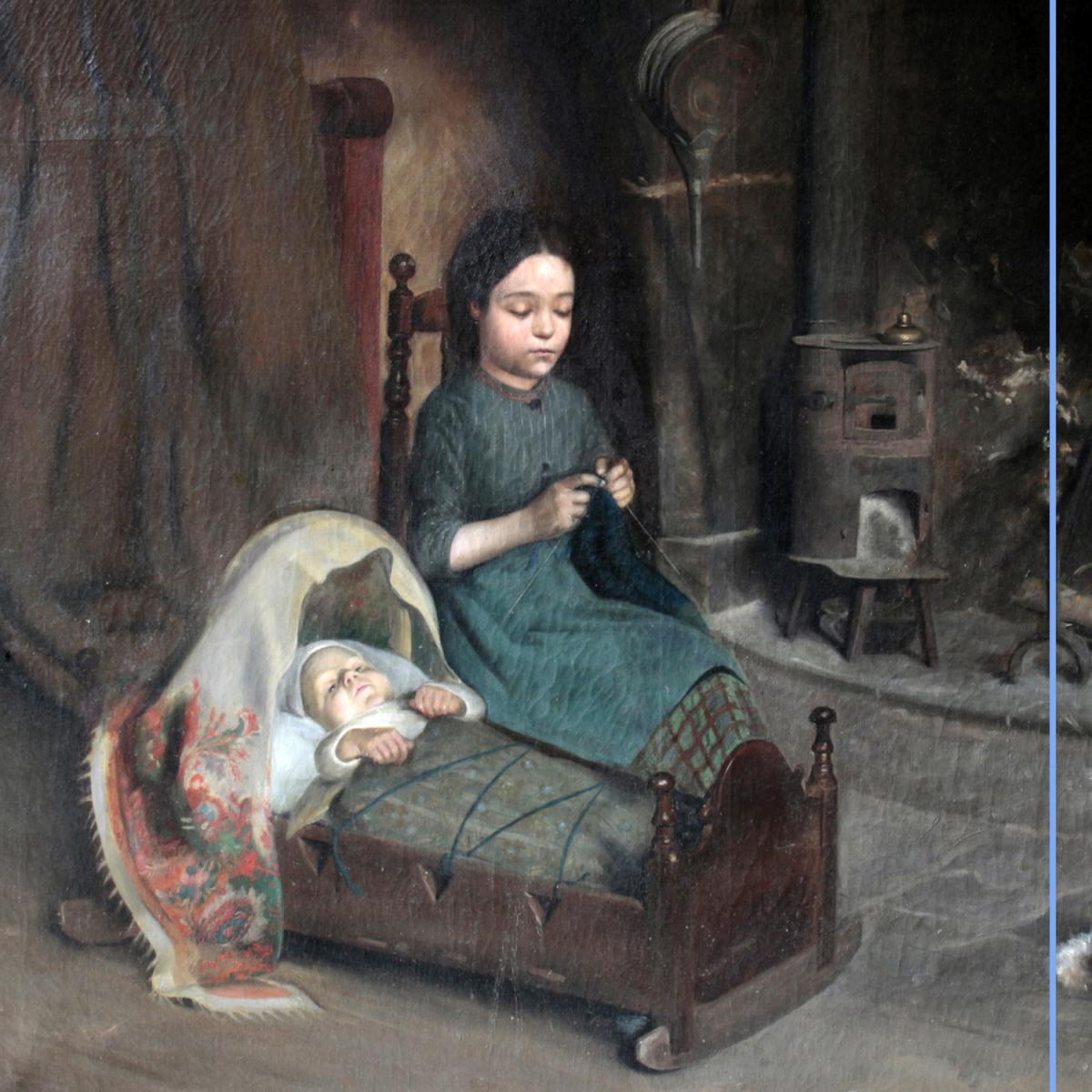 """Martin Coulaud (?-1906) """"La tricoteuse"""", XIXe-photo-2"""