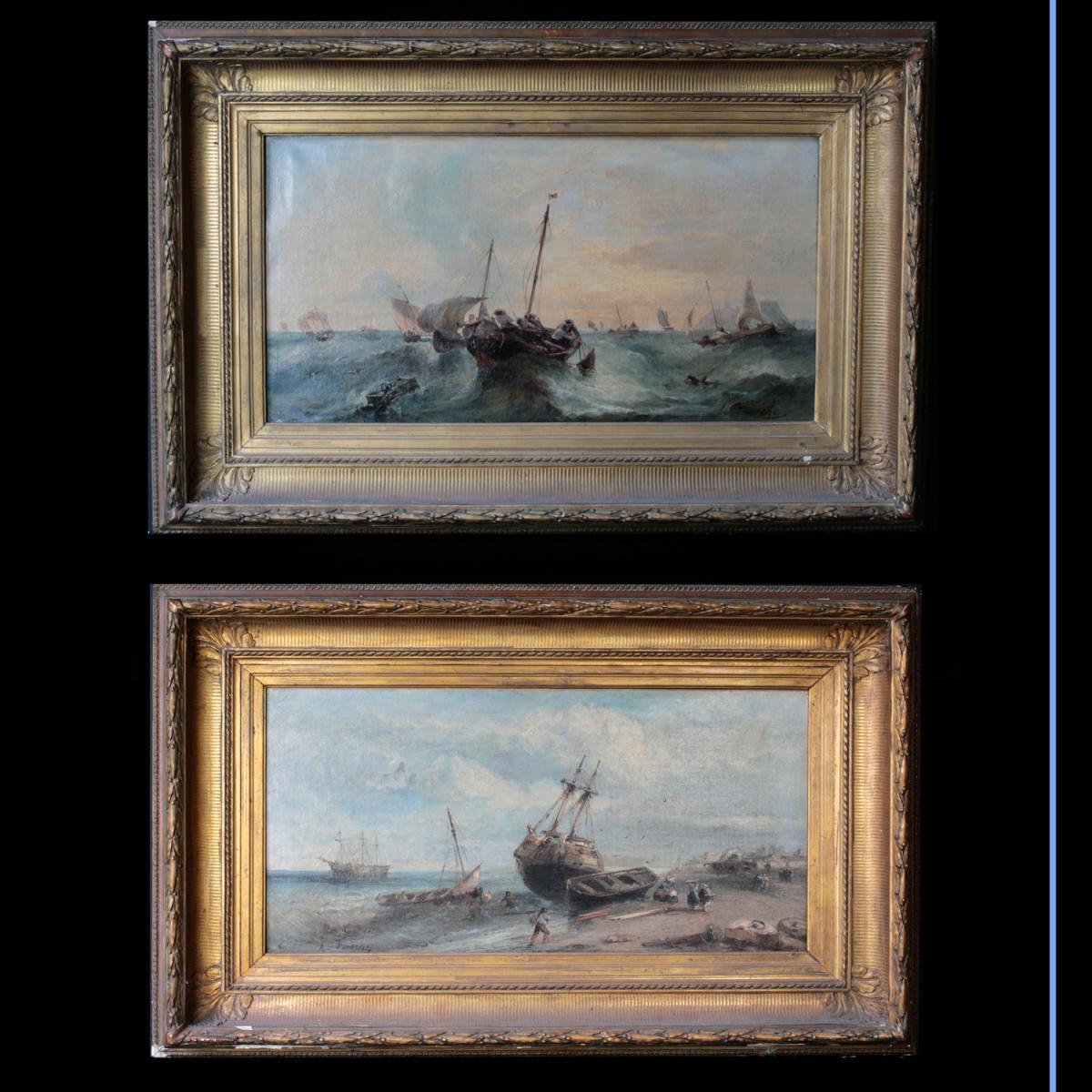 """Huile sur toile """"Paire de marine"""", A. Fonèche"""