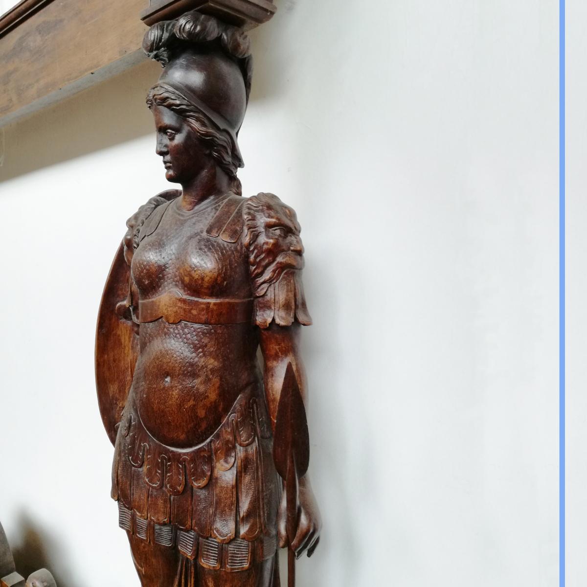 Lit à baldaquin dît de François Ier en noyer sculpté, XIXe
