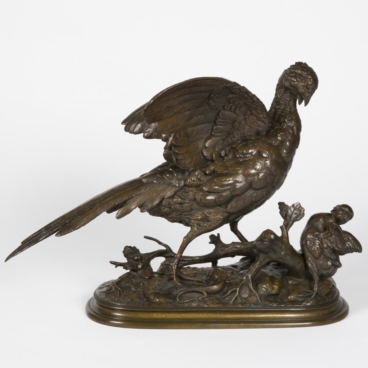 Paul Edouard Delabrierre (1829-1912) , Bronze, Poule faisane