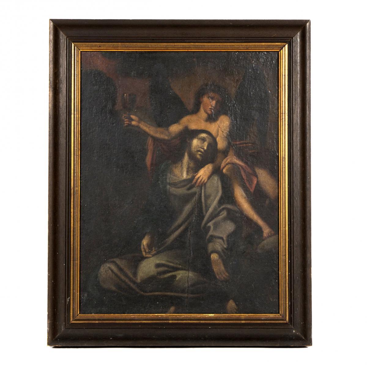 Huile sur toile, scène religieuse, XIXe