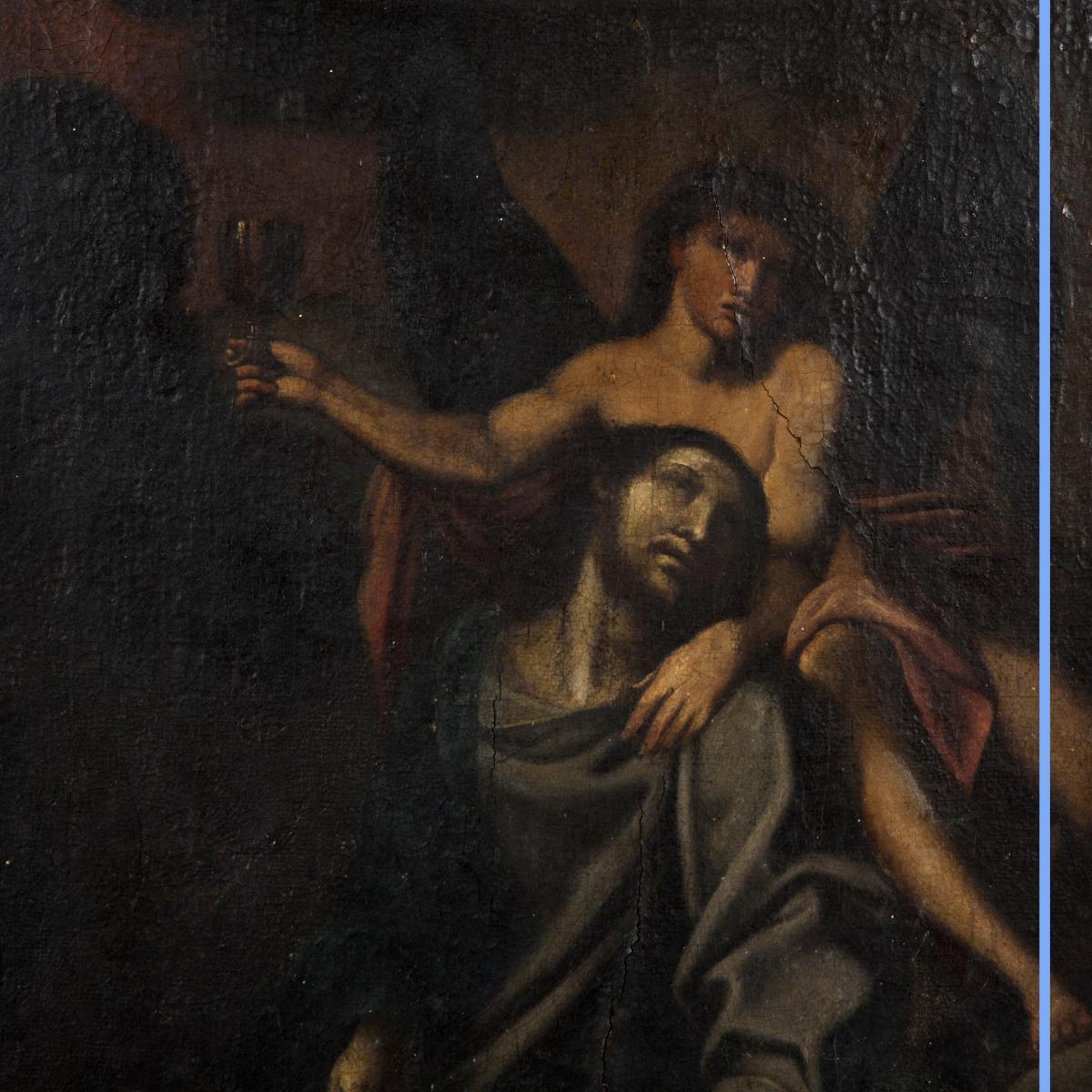 Huile sur toile, scène religieuse, XIXe-photo-2