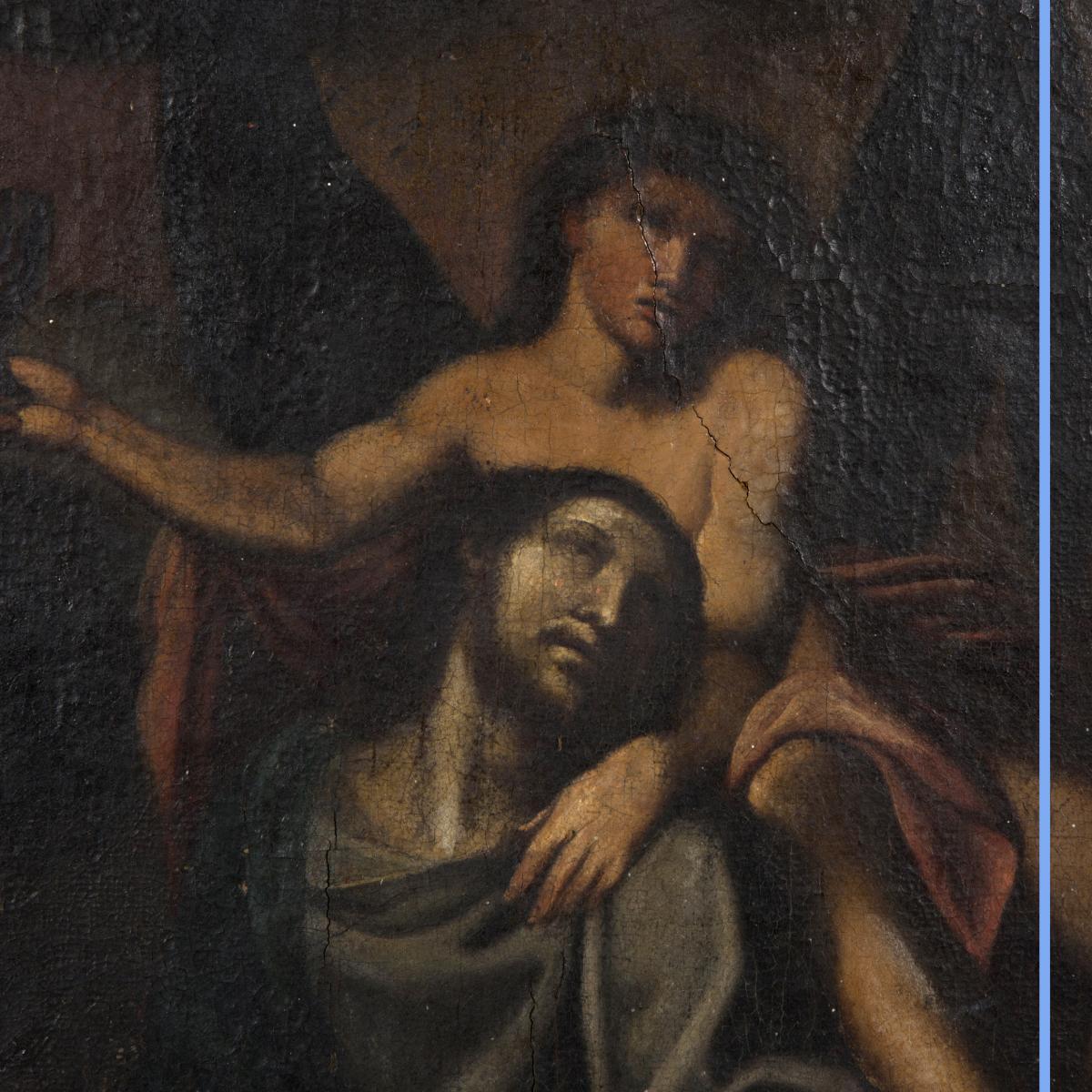 Huile sur toile, scène religieuse, XIXe-photo-3