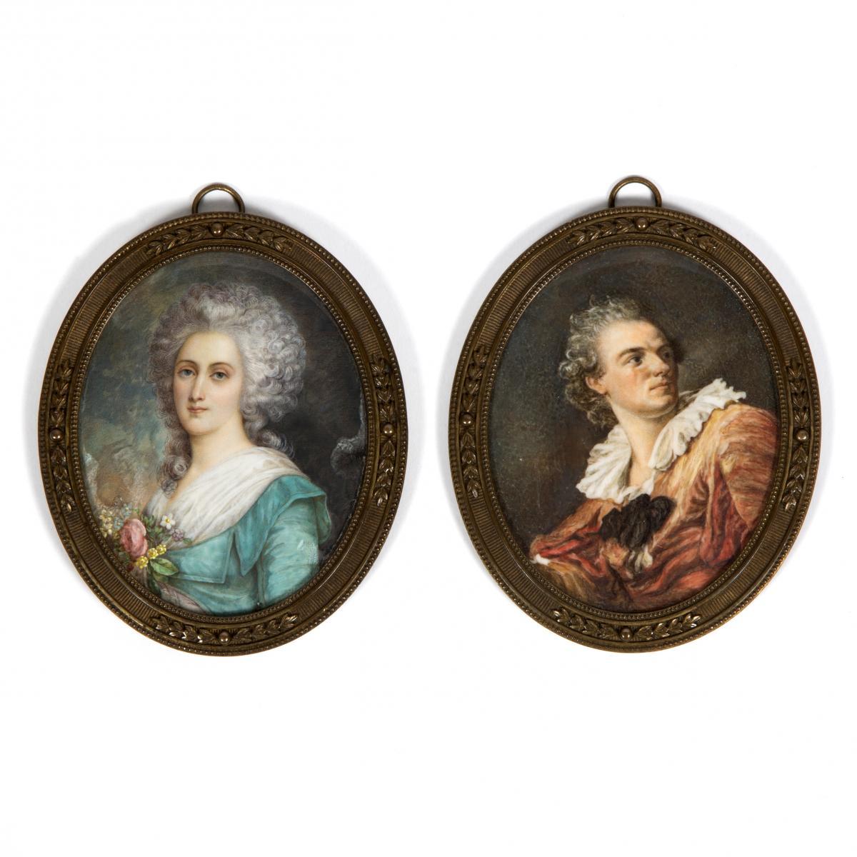 Paire de miniatures sur ivoire, XIXe
