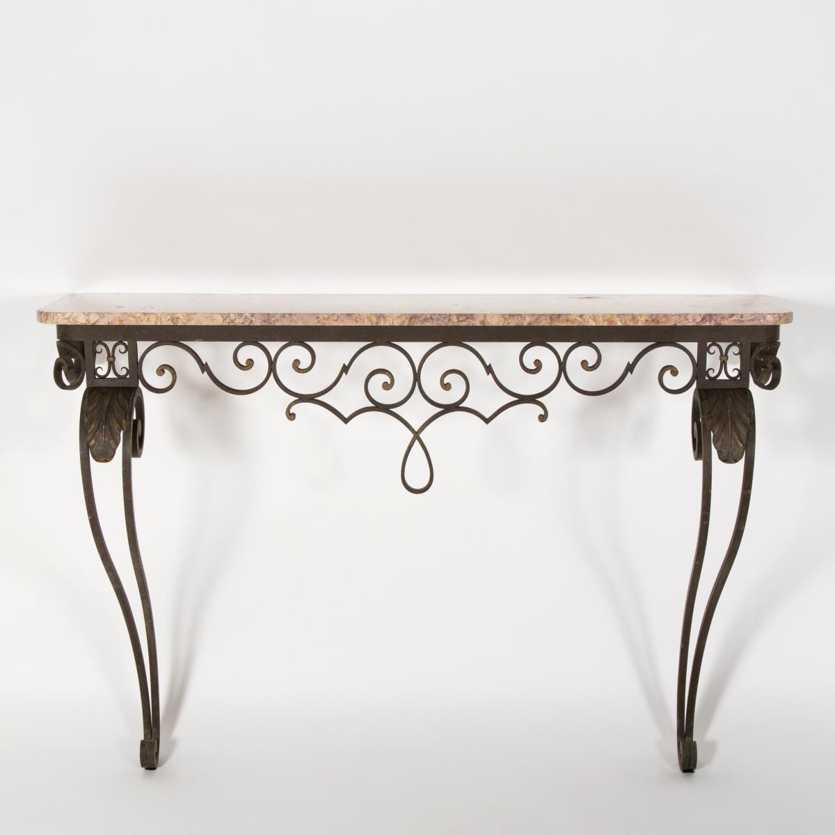Console en ferronnerie d'art et marbre, XIXe