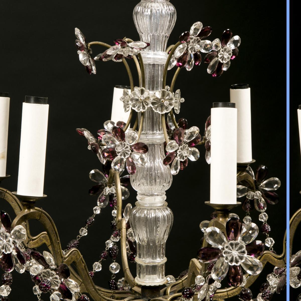 Lustre à motifs floraux et pampilles de couleur, XXe-photo-4