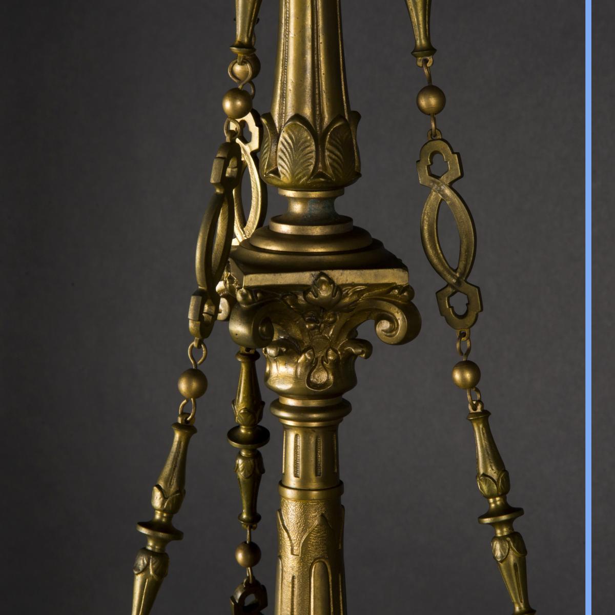 Lustre Aux Dragons En Bronze Et Verre, XIXe-photo-4