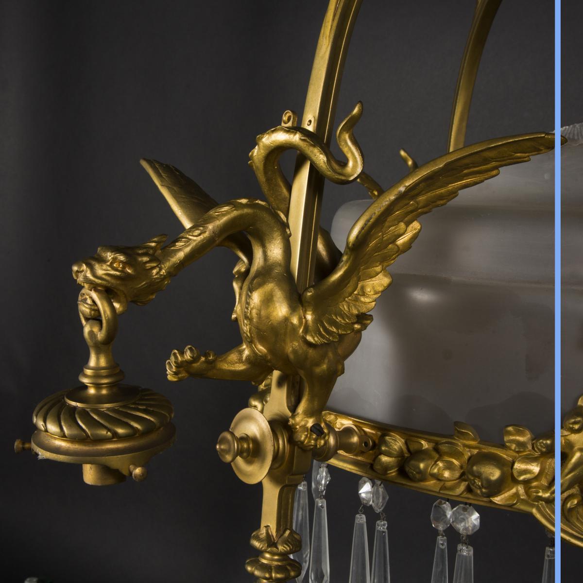 Lustre Aux Dragons En Bronze Et Verre, XIXe-photo-2
