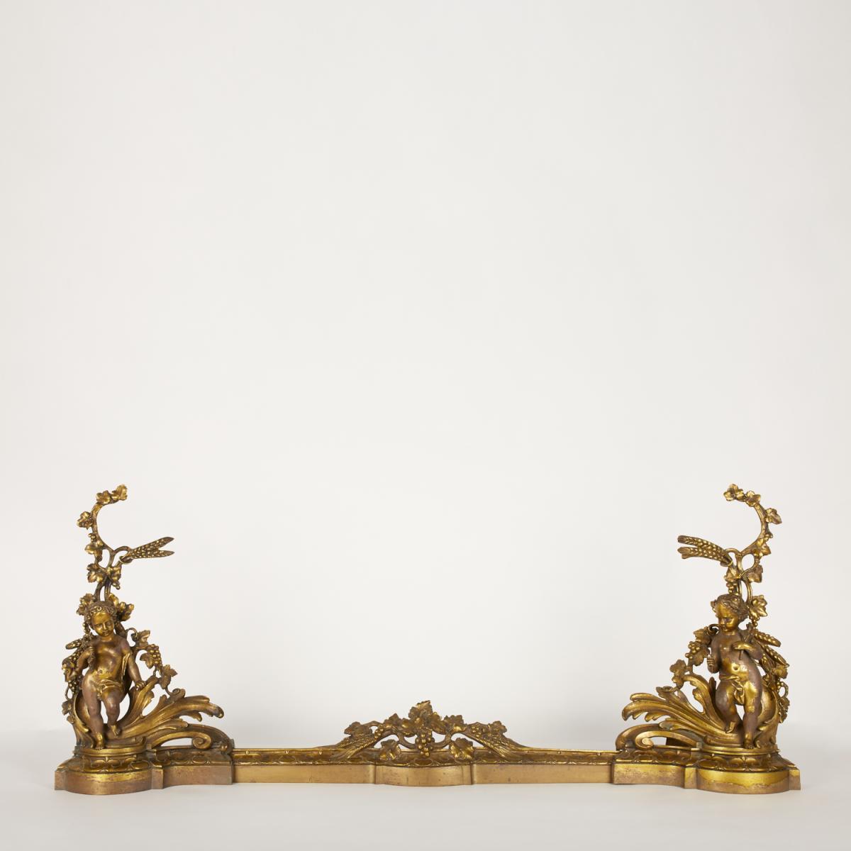 Barre de cheminée en bronze doré, XIXe