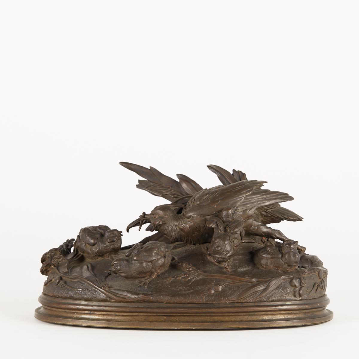 Sculpture animalière en bronze, perdrix, XIXe