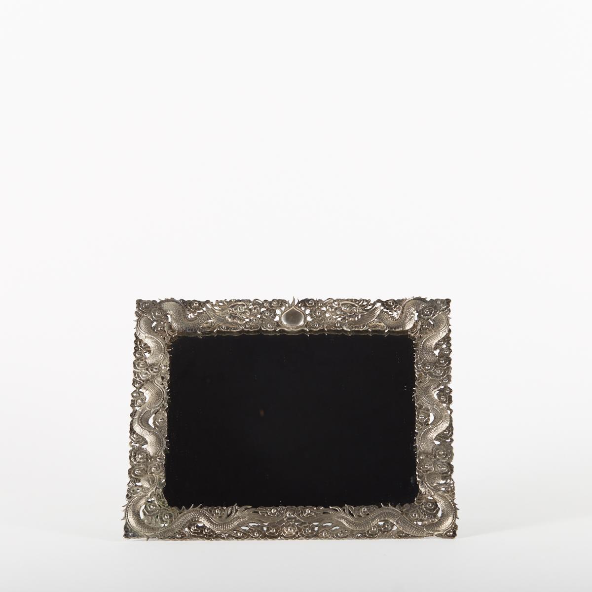 Miroir de table en argent ciselé, Chine, XIXe
