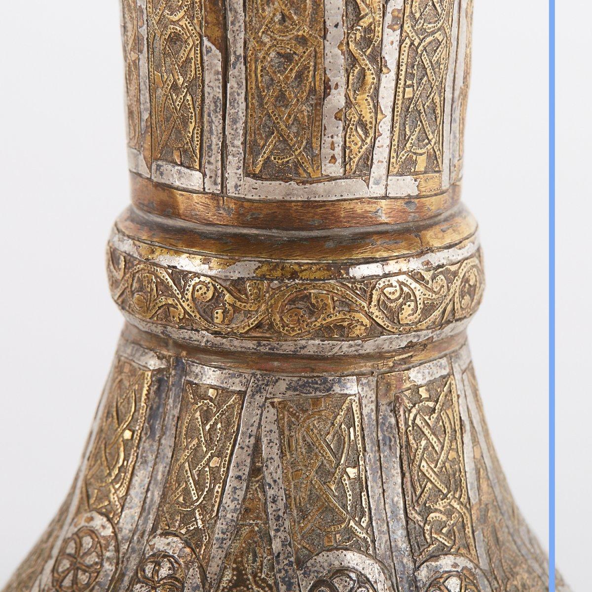 Paire de vases en métal argenté et doré gravé, Syrie, XIXe-photo-4
