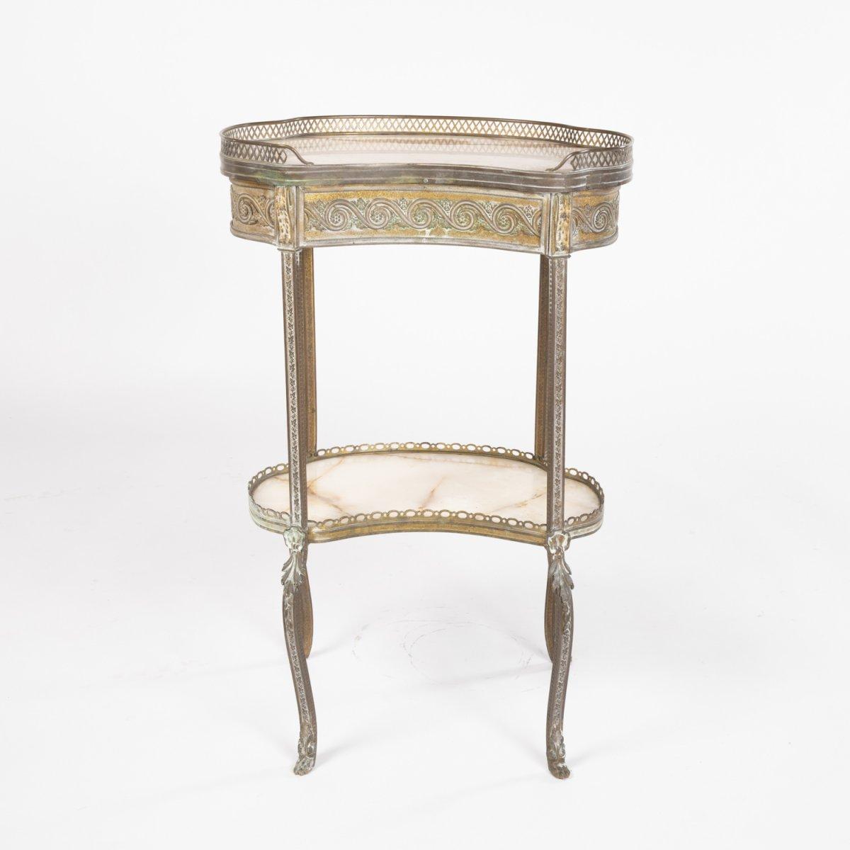 Guéridon rognon en bronze doré et onyx d'époque Napoléon III, XIXe