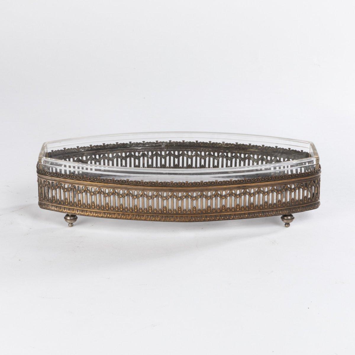 Coupe de forme allongée en argent ciselé et verre, XIXe