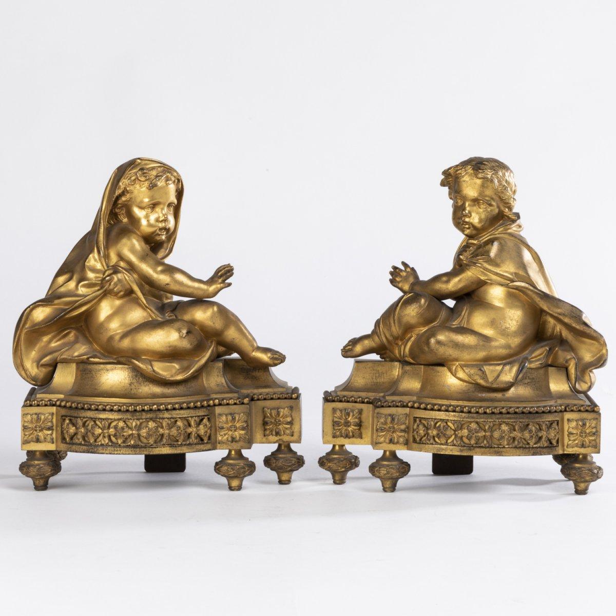 Paire de petits chenets aux putti en bronze doré, XIXe