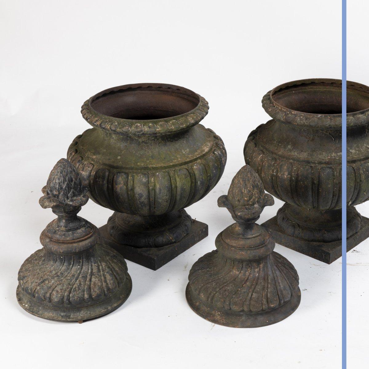 Paire de pots à feux  de style Louis XVI en fonte, XIXe-photo-4